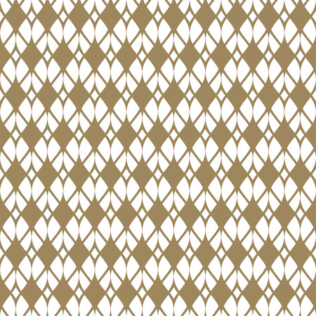 Vector seamless pattern with golden mesh, net, grid, lattice, fabric, knitting, curved lines. Abstract geometric white and gold texture. Elegant repeat background. Design for decor, textile, clothing