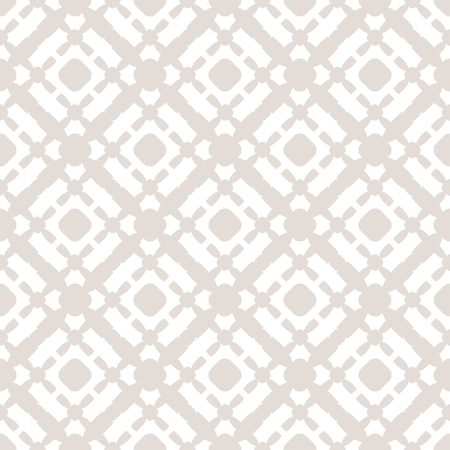 Subtle vector seamless pattern with grid, lattice, cross, circles. Beige and white background. Simple geometric texture. Delicate abstract ornament. Repeat design for decoration, gift paper, prints