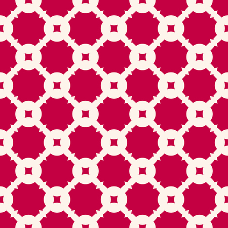 Elegant red vector seamless pattern in oriental style. Simple geometric ornament, grid, lattice, repeat tiles. Luxury abstract background texture. Festive design for decoration, fabric, carpet, cloth