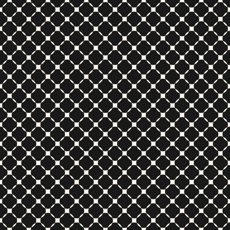 Vector geometric grid seamless pattern. Abstract monochrome texture with small mesh, lattice, rounded shapes. Black and white graphic ornament, repeat tiles. Dark design for decor, fabric, prints Illustration