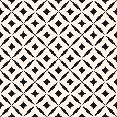 Abstract floral seamless pattern. Vector black and white background. Simple geometric leaf ornament. Delicate luxury graphic texture with diamond shapes, stars, rhombuses, square grid. Elegant design