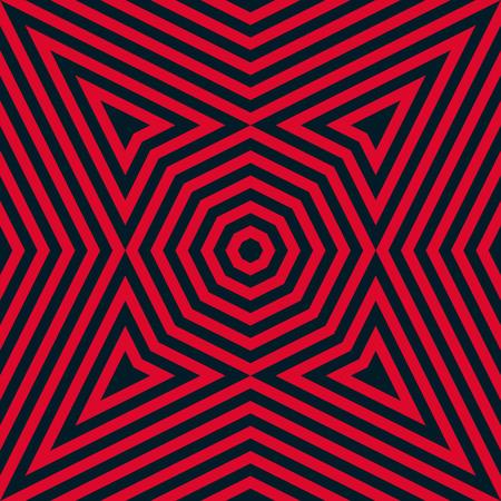 Modèle sans couture de lignes géométriques de vecteur. Fond noir et rouge élégant. Texture graphique abstraite moderne avec rayures, octogones, triangles, lignes concentriques. Conception de répétition créative pour la décoration, les couvertures