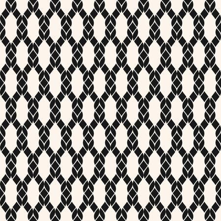 Modèle sans couture de résille de vecteur. Texture nautique géométrique noir et blanc avec maille, filet, tissage, tricot, grille, treillis, tissu, cordes. Fond monochrome abstrait simple. Conception reproductible