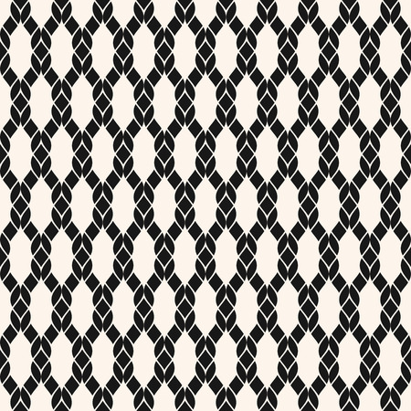 Vector fishnet seamless pattern. Black and white geometric nautical texture with mesh, net, weave, knitting, grid, lattice, fabric, ropes. Simple abstract monochrome background. Repeatable design Standard-Bild - 124654507