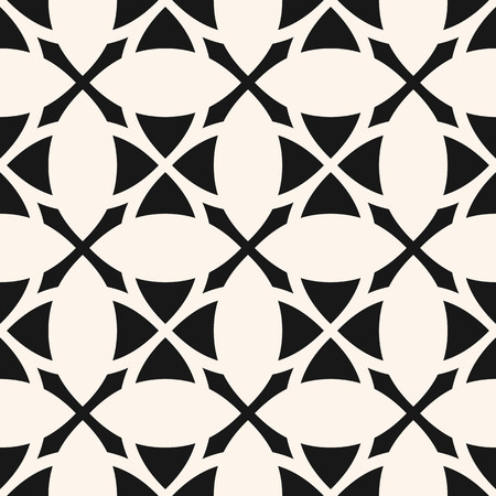 Vector geometric floral grid texture. Abstract monochrome seamless pattern. Black and white ornament with flower silhouettes, crosses, lattice, repeat tiles. Elegant ornamental texture. Simple design Illustration