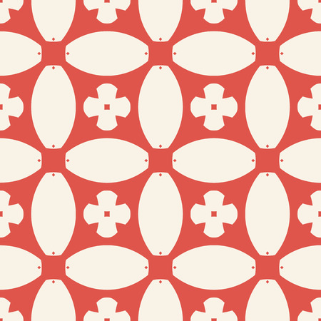 Vector geometric seamless pattern. Abstract floral mosaic. Ornamental background in red and beige colors. Ornament texture with flowers, crosses, rounded shapes, squares, grid, net, repeat tiles