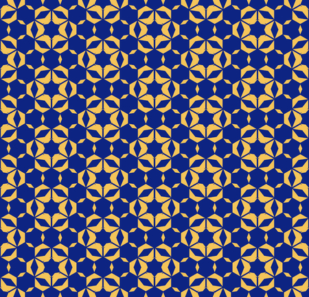 Abstract floral geometric seamless pattern with hexagonal shapes, stars, flower silhouettes, grid, mesh. Vector ornamental texture. Elegant background in navy blue and yellow colors. Repeat design Standard-Bild - 124654515