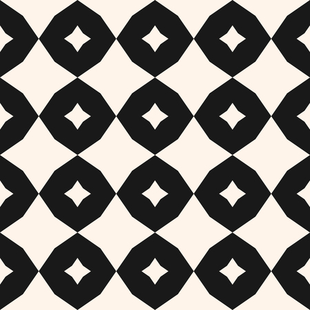 Vector geometric pattern with rhombuses, octagons, star shapes. Simple geometrical ornament. Modern abstract monochrome background texture. Repeat design for decor, prints, textile, floor tiling Illustration