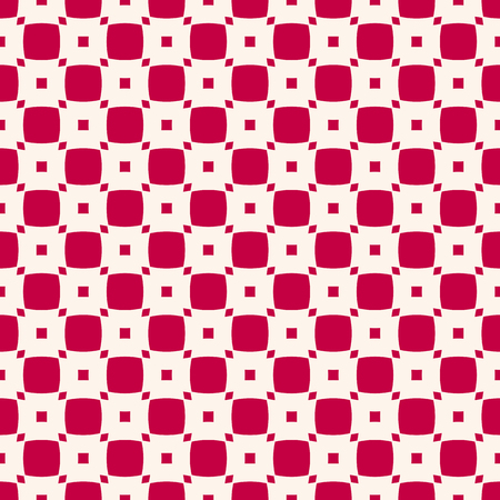 Vector geometric checkered seamless pattern. Simple red and white texture with small rounded squares. Abstract minimalist ornament background. Repeat design for decoration, textile, carpet, wrapping Illustration