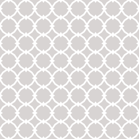 Subtle ornamental vector seamless pattern with geometric tiles, star shapes, grid. Elegant white and gray ornament. Simple abstract background texture. Repeat design for decor, prints, covers, carpet