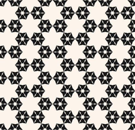 Snowflake seamless pattern. Vector abstract geometric texture with small floral shapes, snow flakes, delicate mesh. Stylish modern monochrome background. Black and white repeatable ornamental design Standard-Bild - 124654523
