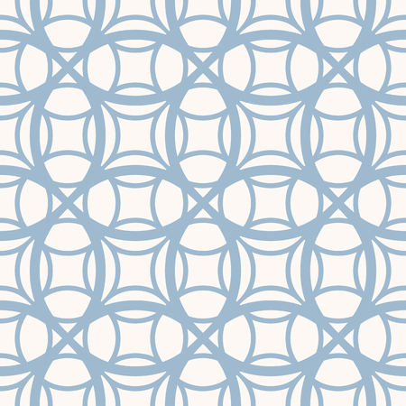 Geometric grid seamless pattern. Vector texture with rounded mesh, net, lattice, weave, curved lines. Simple abstract blue and white background, repeat tiles. Minimal design for decor, prints, textile Illustration