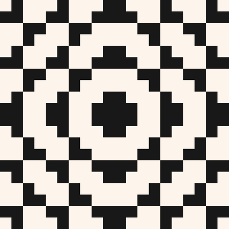 Vector geometric traditional folklore ornament. Fair isle seamless pattern. Tribal ethnic motif. Ornamental texture with squares, crosses, embroidery, knitting. Black and white repeatable background Standard-Bild - 124654530