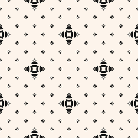 Vector minimalist floral seamless pattern. Simple minimal geometric texture. Black and white abstract graphic background. Subtle monochrome ornament with small flowers, crosses, dots. Repeated design Standard-Bild - 124654531