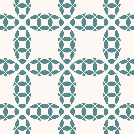 Simple vector geometric seamless pattern. Abstract ornament with curved shapes, rounded grid, net, lattice, mesh, repeat tiles. Background texture in white and teal colors. Elegant ornamental design Reklamní fotografie - 124654534