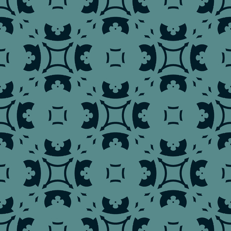 Vector abstract floral geometric ornament. Seamless pattern in black and teal colors. Elegant dark ornamental texture with flower shapes, carved elements. Repeat background. Oriental style design
