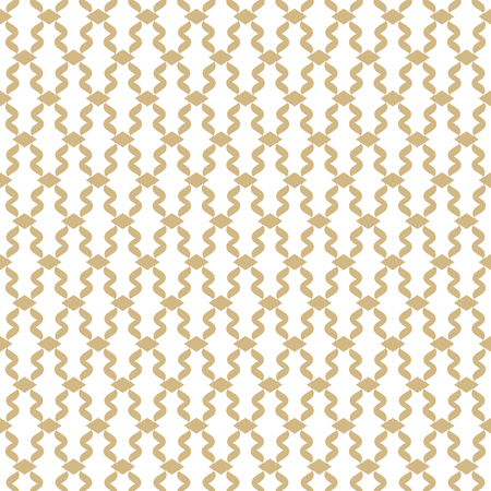 Golden mesh seamless pattern. Subtle vector abstract geometric ornament with thin curved lines, delicate mesh, net, grid, lattice, lace. Gold and white luxury background texture. Decorative design Stock Illustratie