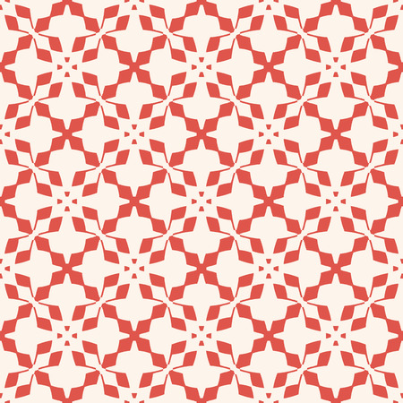 Vector geometric floral pattern. Elegant seamless texture with flower silhouettes, carved shapes, crosses. Christmas theme ornament. Terracotta red and beige abstract background. Decorative design Standard-Bild - 124654541