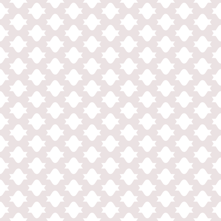 Subtle vector seamless pattern with simple geometric shapes, regular grid. Abstract geometric texture in soft pastel colors, pale pink and white. Delicate repeat background. Design for decor, fabric