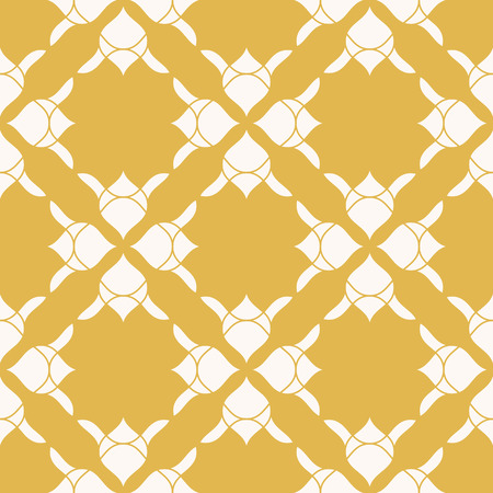 Vector abstract floral seamless pattern. Elegant yellow and white texture. Geometric background with flower silhouettes, curved shapes. Luxury repeatable ornament. Design for decoration, fabric, cloth Reklamní fotografie - 124654544