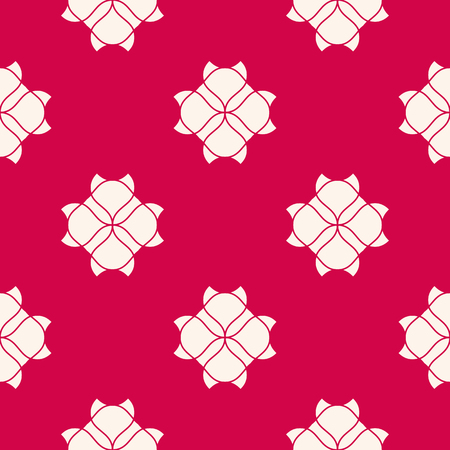 Vector red and white geometric floral seamless pattern. Abstract background with simple flowers, petals, leaves, curved shapes. Elegant repeat ornament texture. Oriental style design for decor, fabric Ilustrace