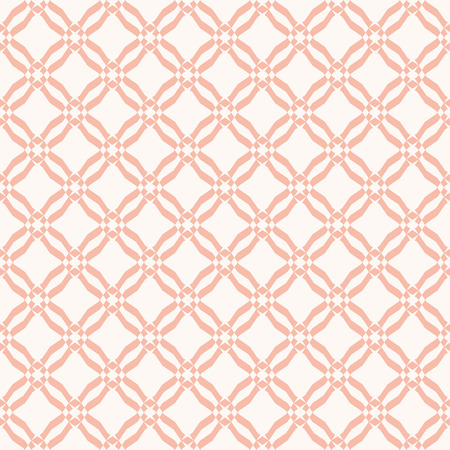 Grid pattern. Vector abstract geometric seamless texture with mesh, lattice, lace, diagonal lines, small diamond shapes, rhombuses. Elegant pink and beige repeat background. Subtle graphic ornament Иллюстрация