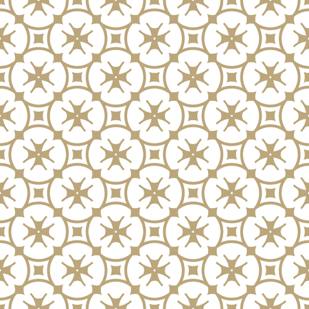 Vector golden floral seamless pattern. Luxury geometric background with grid, lattice, flower shapes, crosses, stars, repeat tiles. Simple abstract oriental texture. White and gold ornament design Reklamní fotografie - 124654553