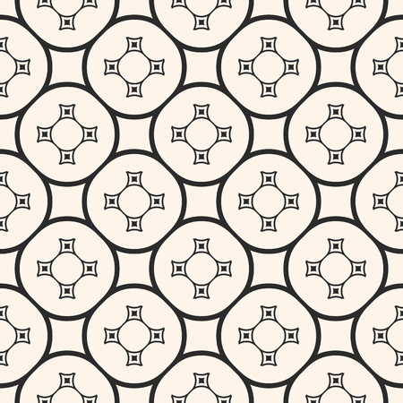 Vector ornamental seamless pattern with repeat geometric tiles. Ornament texture with simple curved shapes, circles, squares, delicate circular grid. Abstract monochrome background. Elegant design