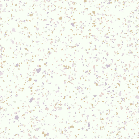 Terrazzo flooring seamless pattern. Vector texture of mosaic floor with natural stones, granite, marble, quartz, limestone, concrete. Realistic background with colored particles, golden, purple, pink