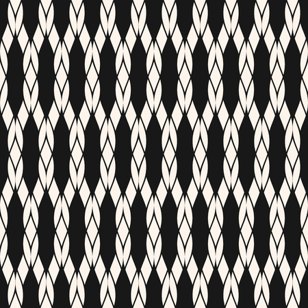 Vector rope seamless pattern. Black and white geometric nautical texture with mesh, fishnet, weave, knitting, grid, lattice, fabric. Simple abstract monochrome background. Repeat decorative design Illustration