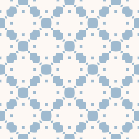 Subtle vector geometric seamless pattern with small elements, squares, rhombuses, grid. Delicate abstract white and light blue texture. Elegant minimalist repeat background. Simple vintage design