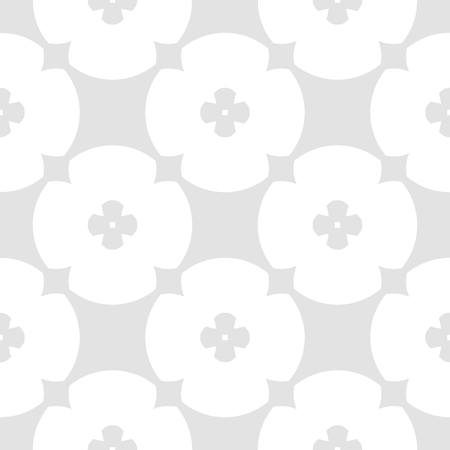 Simple geometric floral pattern. Vector seamless texture with flower shapes, circles, round grid, net. Subtle abstract minimal background in light gray and white color. Delicate repeatable design