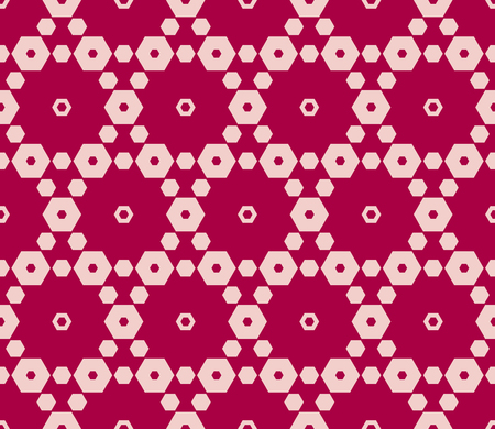 Pink and red vector seamless pattern. Elegant geometric ornament with delicate hexagonal grid, lattice, small hexagons. Subtle abstract background texture. Fashionable design for decor, fabric, prints Illustration