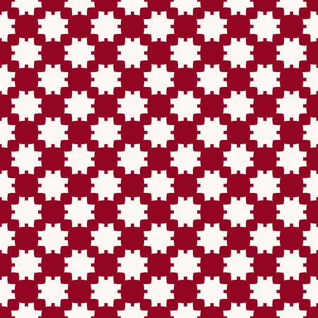 Vector abstract geometric seamless pattern. Simple ornament with flower silhouettes, square shapes, crosses, grid, net, repeat tiles. Background texture in burgundy and white color. Elegant design Standard-Bild - 124654566