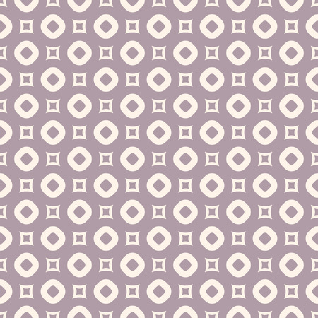 Vector geometric seamless pattern in pastel colors, purple and beige. Abstract texture with small perforated circles and squares. Simple elegant background. Repeat design for decor, wrapping, cloth