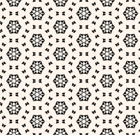 Snowflake seamless pattern. Vector abstract geometric texture with small floral shapes, snow flakes, tiny elements, mesh. Delicate monochrome background. Black and white repeatable ornamental design