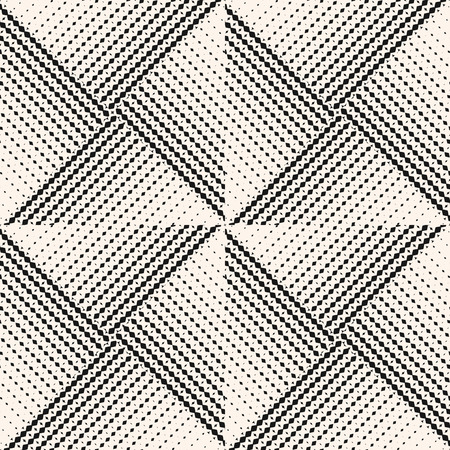 Vector abstract geometric seamless pattern with halftone triangle tiles. Black and white monochrome background with gradient transition effect. Repeatable design for decor, covers, prints, packaging