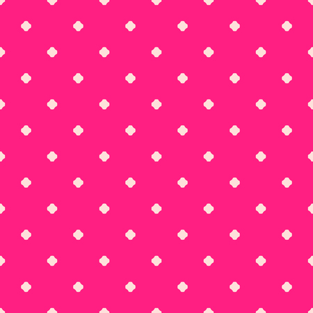 Vector geometric floral seamless pattern, simple pink texture with small dots, crosses, flower silhouettes. Abstract minimal repeatable background. Design for print, decor, textile, wallpapers, cloth Stok Fotoğraf - 124638324