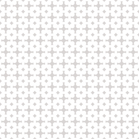 Vector geometric ornament background. Gray and white abstract seamless pattern in traditional Asian style. Silver texture with grid, lattice, crosses, squares, repeat tiles. Subtle decorative design Illustration