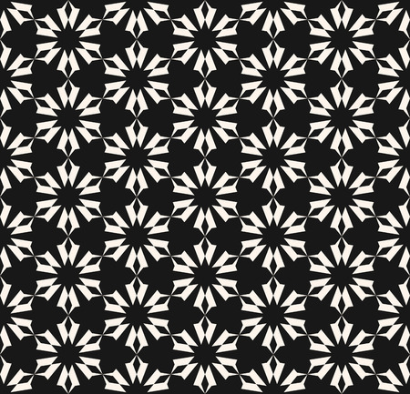 Vector geometric floral seamless pattern. Ornamental black and white texture. Abstract monochrome ornament with flower shapes, stars, delicate grid, lattice. Repeat background. Design for decor, print