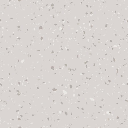 Vector floor texture. Terrazzo flooring seamless pattern. Beige and gray concrete background surface with natural stone fragments, granite, marble, quartz. Trendy repeat design for ceramic, home decor