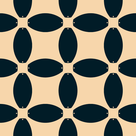 Vector geometric seamless pattern. Abstract mosaic with rounded grid, mesh, net, lattice. Ornamental background in black and tan colors. Repeatable ornament texture. Retro vintage design for decor Vectores