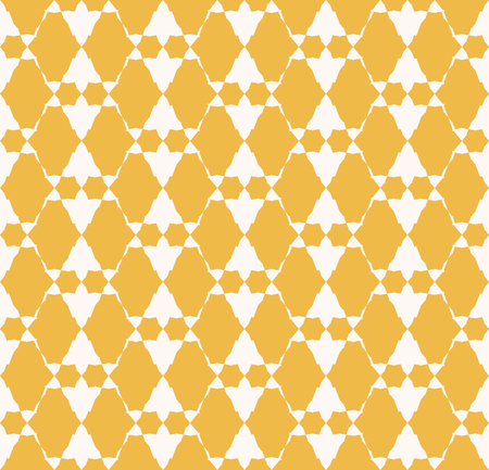 Golden vector geometric seamless pattern. Abstract yellow and white background. Graphic texture with triangular shapes, grid, mesh. Tribal ornament. Ethnic folk motif. Repeatable decorative design