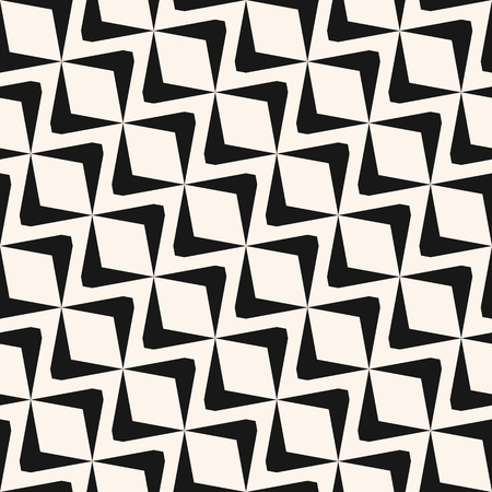 Vector diagonal geometric seamless pattern with diamond shapes, mesh, grid, lattice, wavy lines. Simple black and white ornament texture. Abstract monochrome background. Art deco style. Repeat design