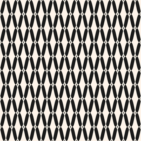 Vector seamless pattern, simple monochrome black and white geometric texture, illustration of mesh, lattice, tissue structure, rhombus grid. Abstract repeat background. Design for wallpapers, fabric Illustration