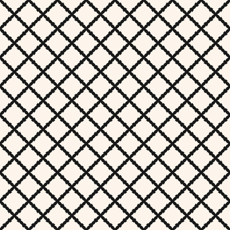 Square grid vector seamless pattern. Abstract geometric monochrome texture with diagonal cross lines, rhombuses, small mesh, lattice, grill, barbed wire. Simple black and white repeat background Vektorové ilustrace