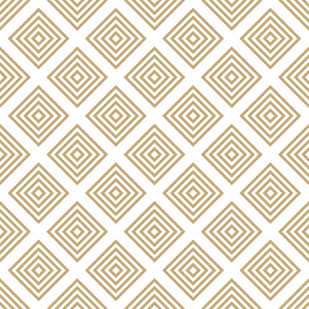 Vector golden geometric seamless pattern with squares, rhombuses, grid, lattice. Abstract white and gold graphic ornament. Modern linear background. Luxury elegant texture. Repeat decorative design