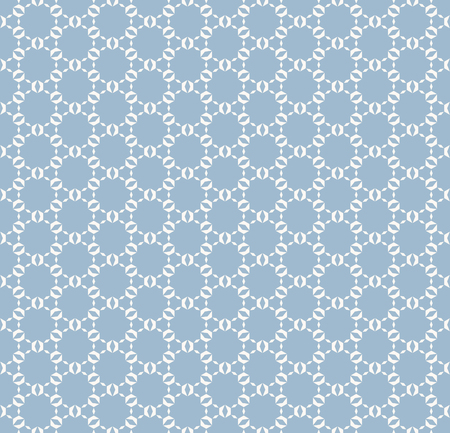 Subtle vector geometric seamless pattern. Delicate soft blue ornament with small shapes, hexagonal grid, lattice, net, mesh, weave. Abstract ornamental background texture. Repeat decorative design