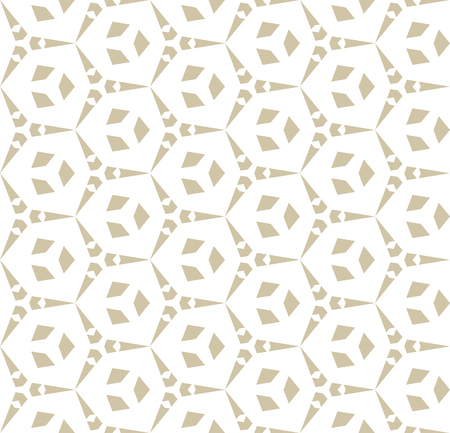 Vector golden geometric seamless pattern with hexagonal lattice, triangular shapes. Simple abstract ornament. Cellular grid texture. Modern repeat white and gold background. Design for decor, prints