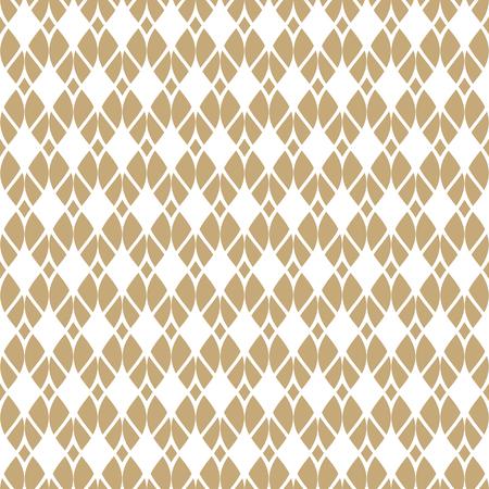 Vector naadloos patroon met gouden gaas, net, raster, rooster, stof, breien, gebogen lijnen, kant. Abstracte geometrische witte en gouden textuur. Elegante herhaal achtergrond. Ontwerp voor decor, textiel Vector Illustratie